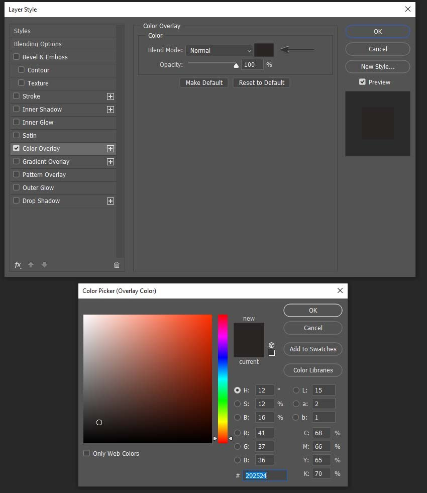 adding color overlay to the layer