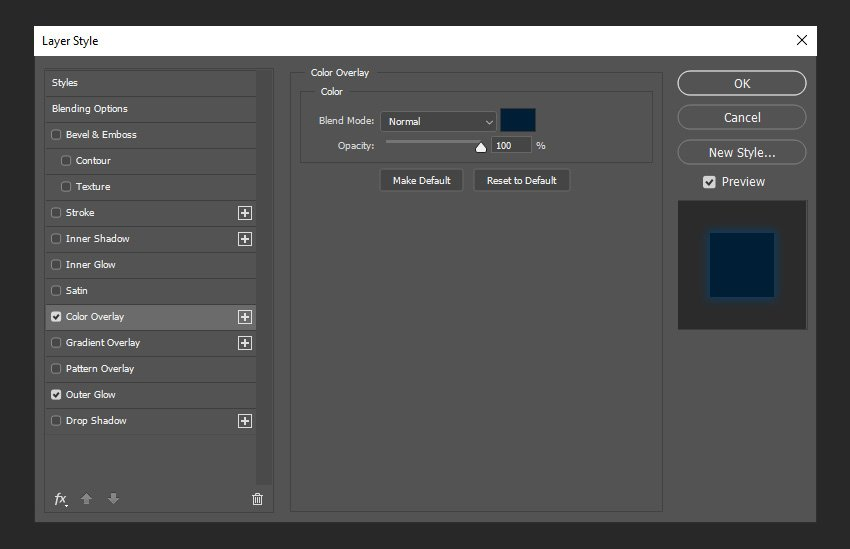 adding color overlay layer styles