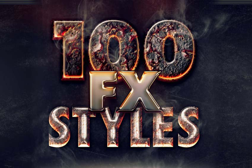 100 Photoshop Layer Styles Bundle - Text Effect