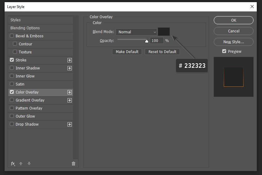 color overlay layer style setting