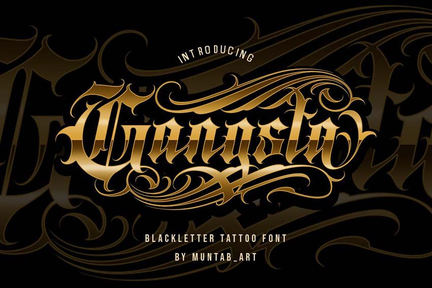 Gangsta Typeface - Tattoo Fonts