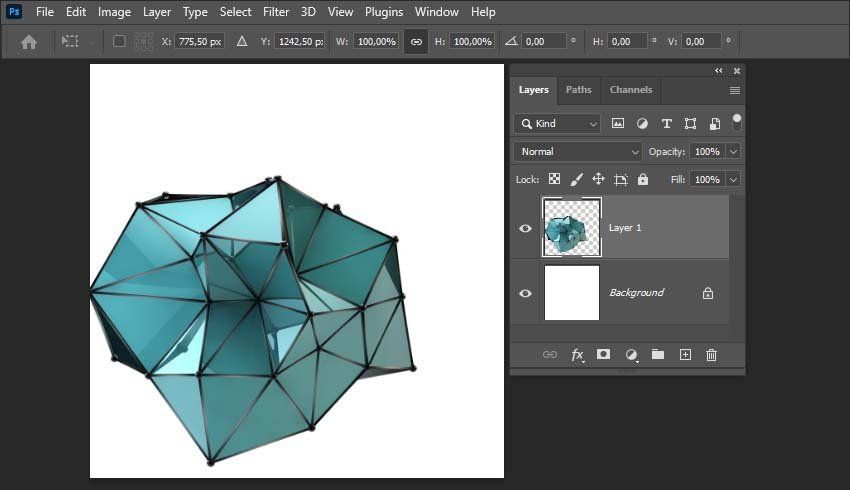 how to center an object in Photoshop-activating the transform tool
