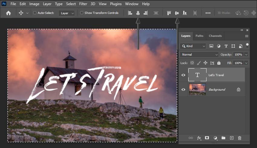 how to center text in Photoshop- centring a text layer