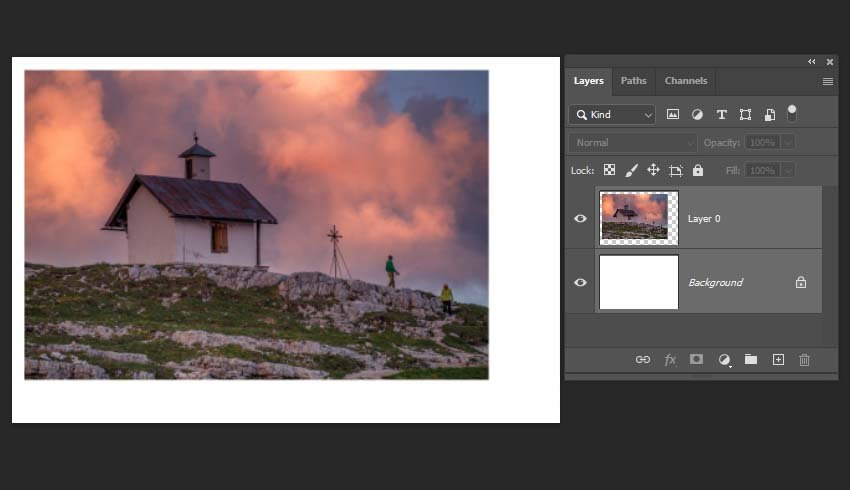 how to center in Photoshop- selecting the layers