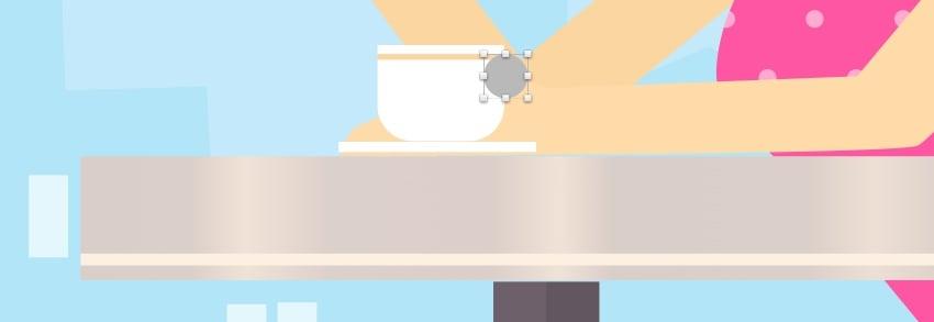 Cup of coffee - create handle circle