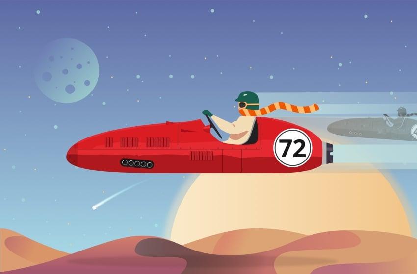 Futuristic racing illustration finished