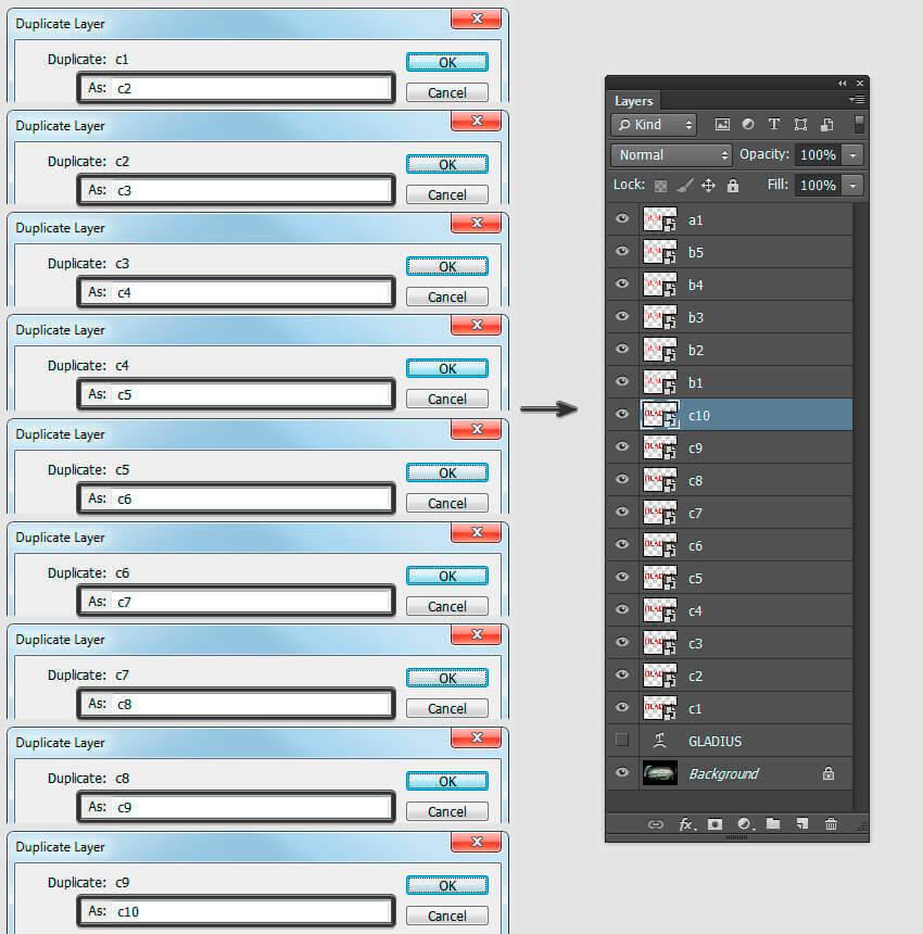 Duplicate Layers c2 to c10