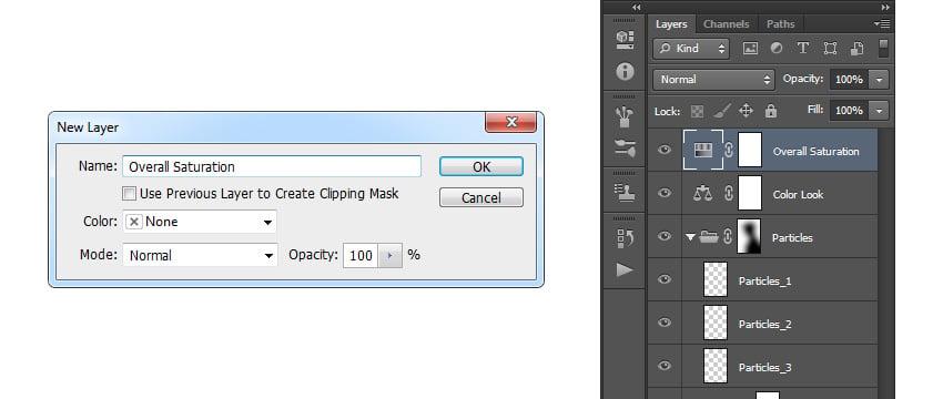 Creating new huesaturation adjustment layer