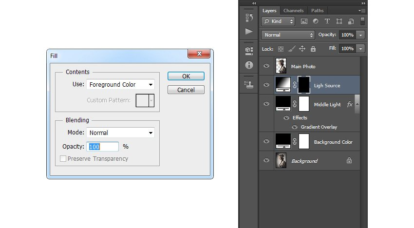Filling the layer mask with black color