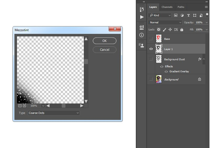 Adding the mezzotint coarse dots filter