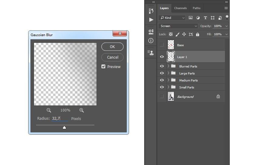 Adding gaussian blur filter to Layer 1