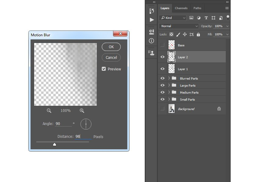 Adding motion blur filter to Layer 2