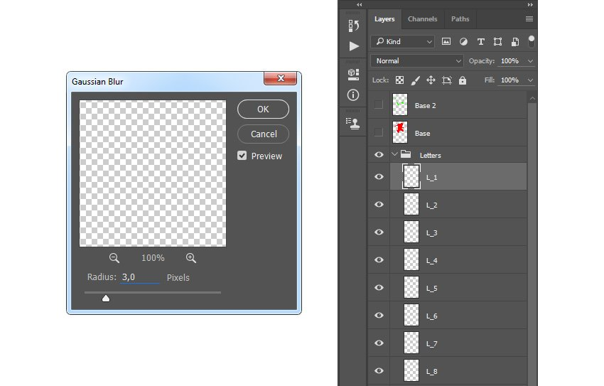 Adding gaussian blur filter to letters