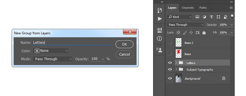 Creating new group from layers named Letters