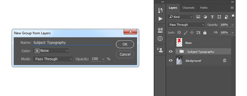 Creating new group from layers nameds Subject Typography