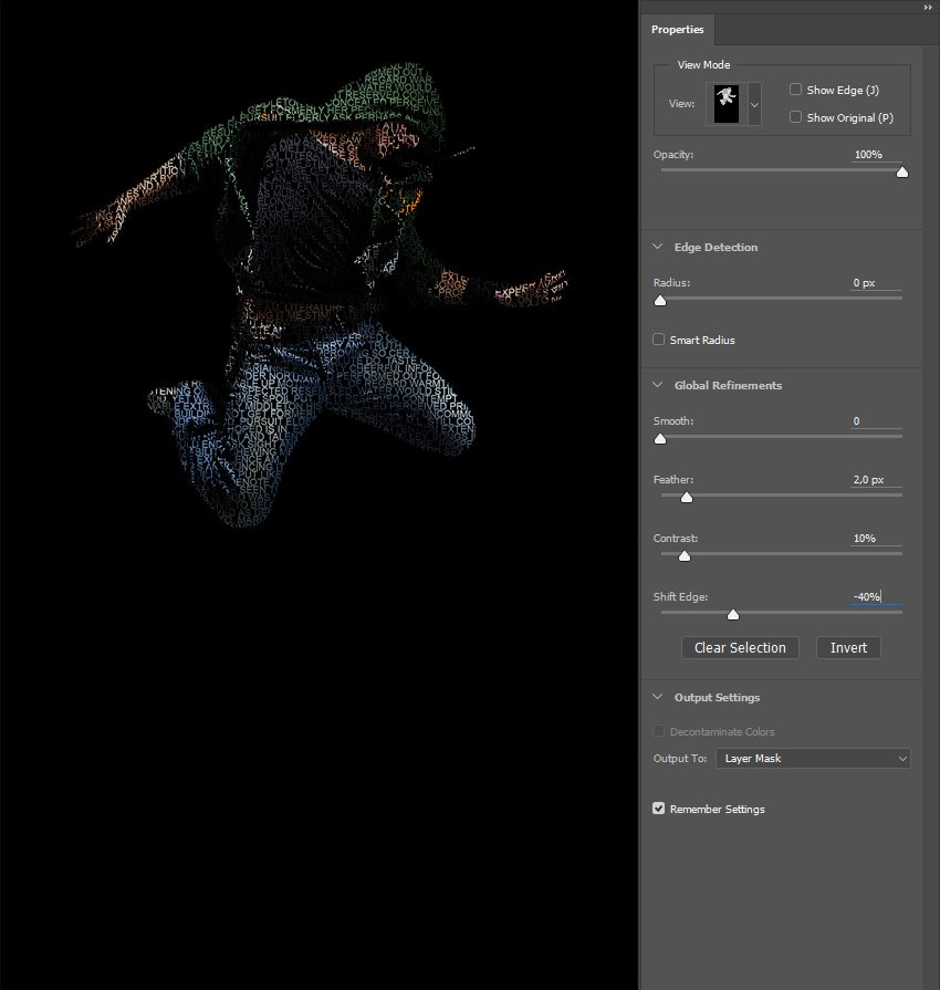 Selecting and masking layer mask of Text layer