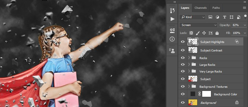 Adding filter gaussian blur to more rocks layers