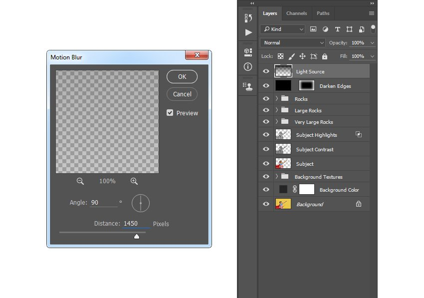 Adding filter motion blur to Light Source layer