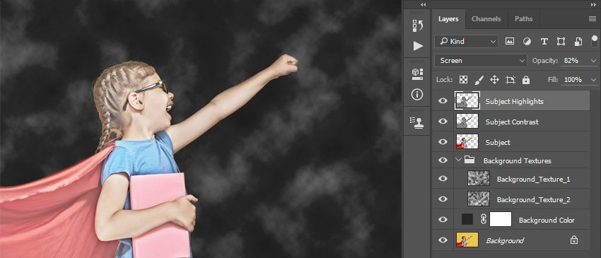 Changing blending mode and opacity of the Subject Highlights layer