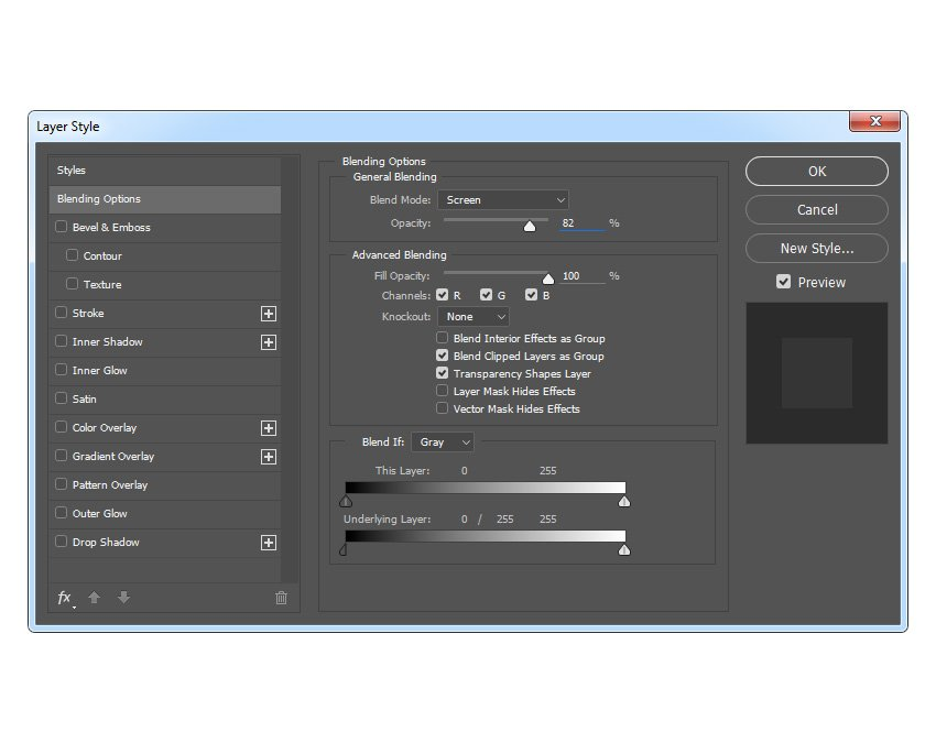 Changing blending options of the Subject Highlights layer