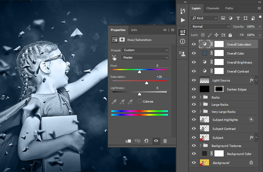 Changing properties of the Overall Saturation layer