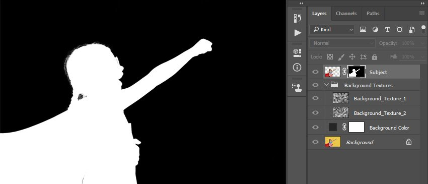 Refining layer mask of the Subject layer