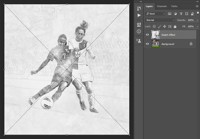 Placing Sketch Effect