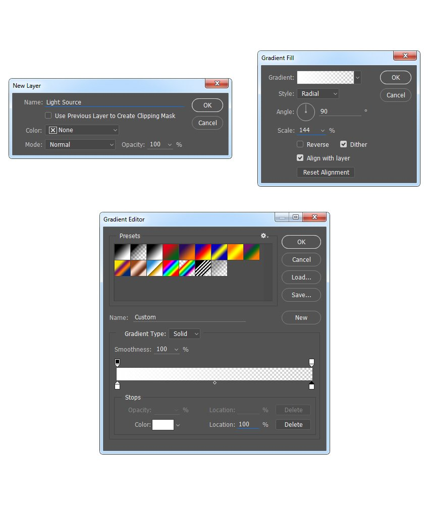 Creating new gradient fill layer