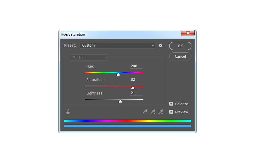Adjusting hue and saturation