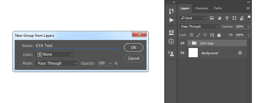 Creating new group from layers