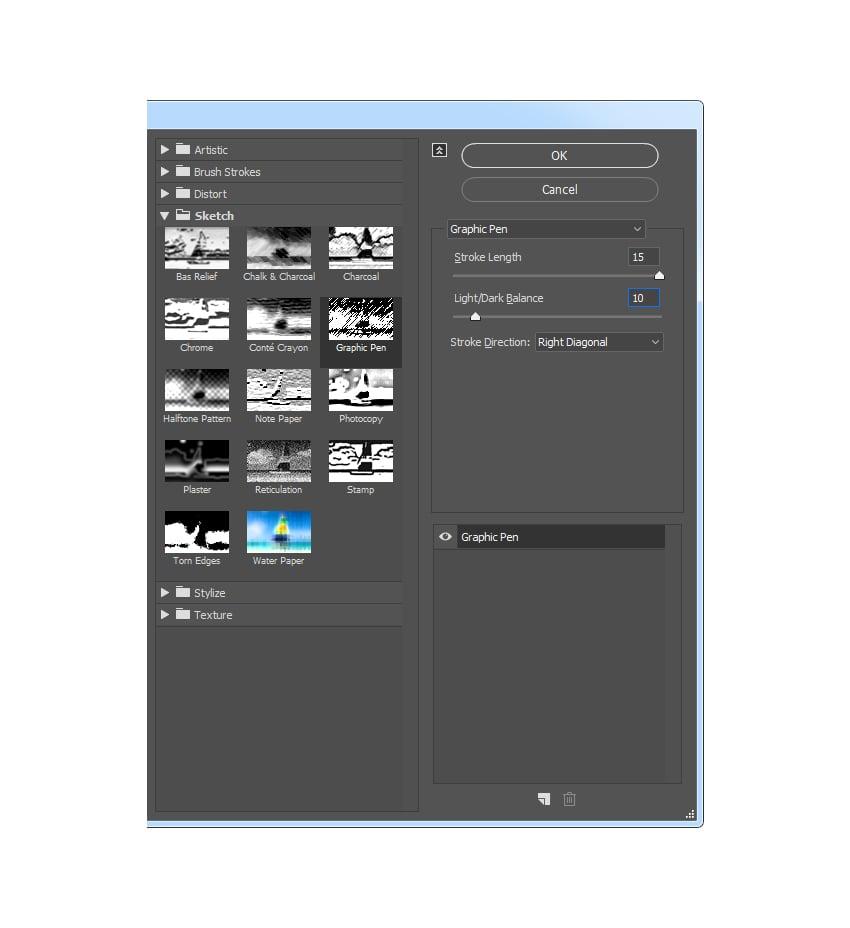 Adding graphic pen filter