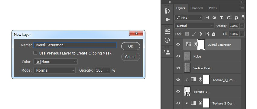 Creating new hue and saturation adjustment layer