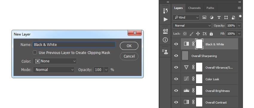 Creating new black  white adjustment layer
