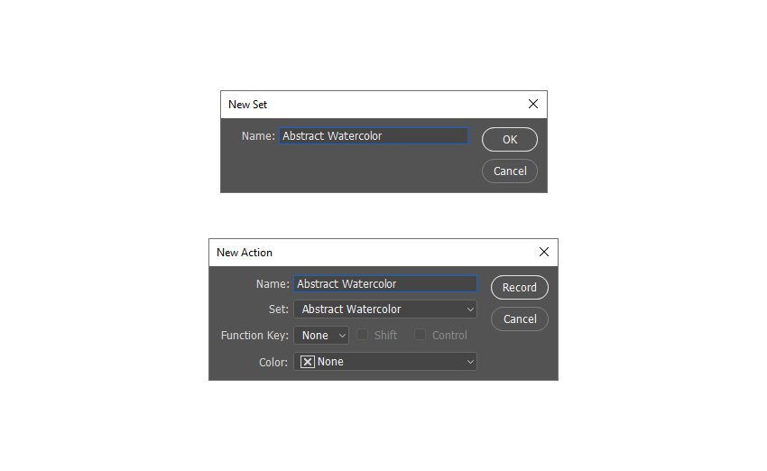 creating new photoshop action