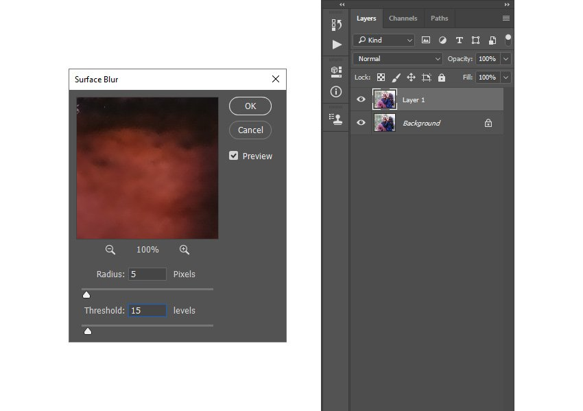 adding surface blur filter