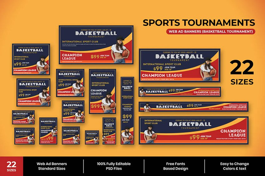 sports tournament web ad banners