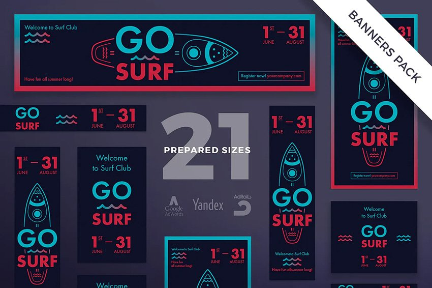surf sport club banner pack template