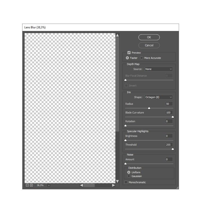adding lens blur filter