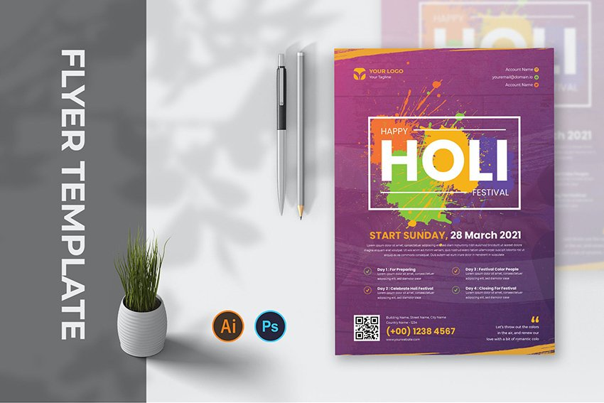 holi festival flyer ac