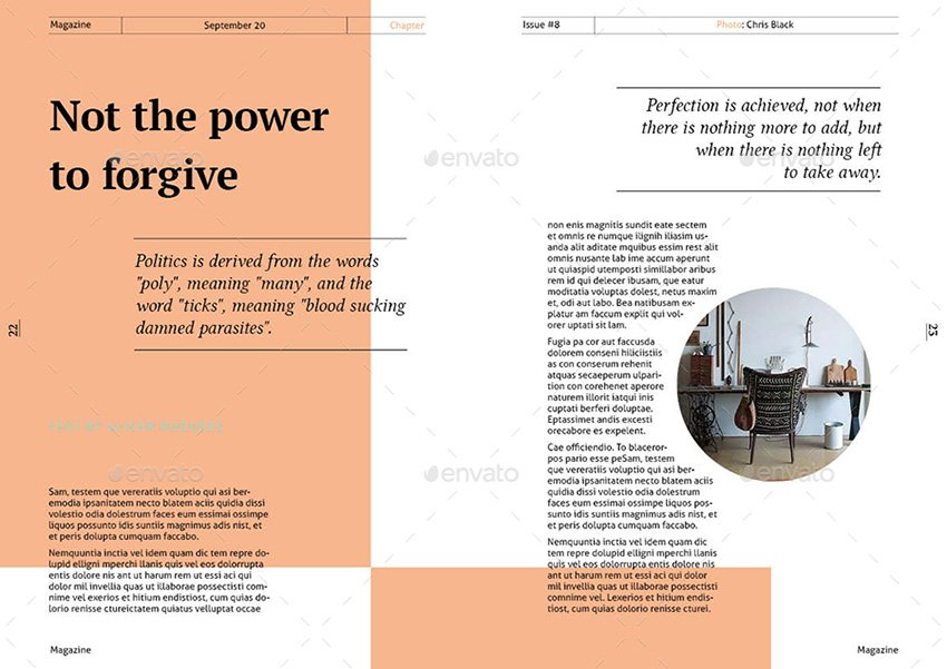 An example of simple magazine layout