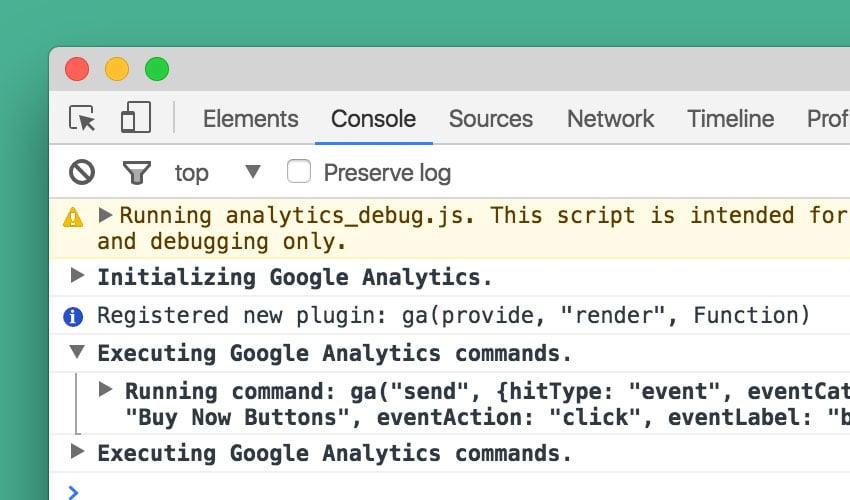 Google Analytics Log in DevTools Console