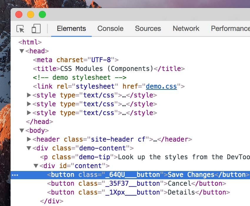 Elements Tab on Google Chrome DevTools
