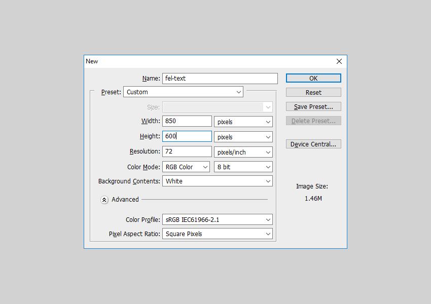 Create new Photoshop document