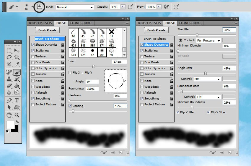 How to Create Clouds in Photoshop Tutorial Brush Settings in Photoshop
