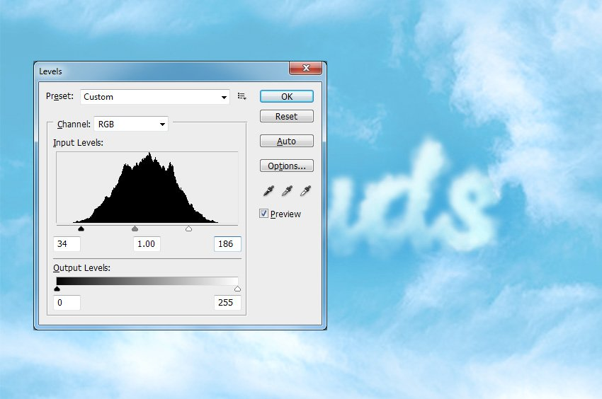 How to Add Clouds in Photoshop Tutorial Levels Adjustment in Photoshop