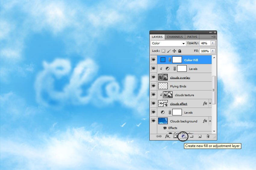 How to Add Clouds in Photoshop Tutorial Color Fill Adjustment