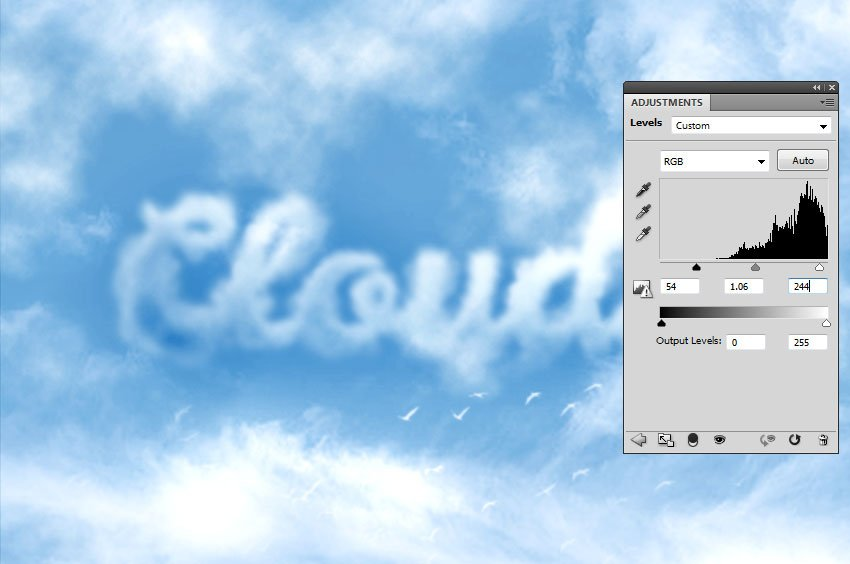 How to Make Clouds in Photoshop Tutorial Levels Adjustment