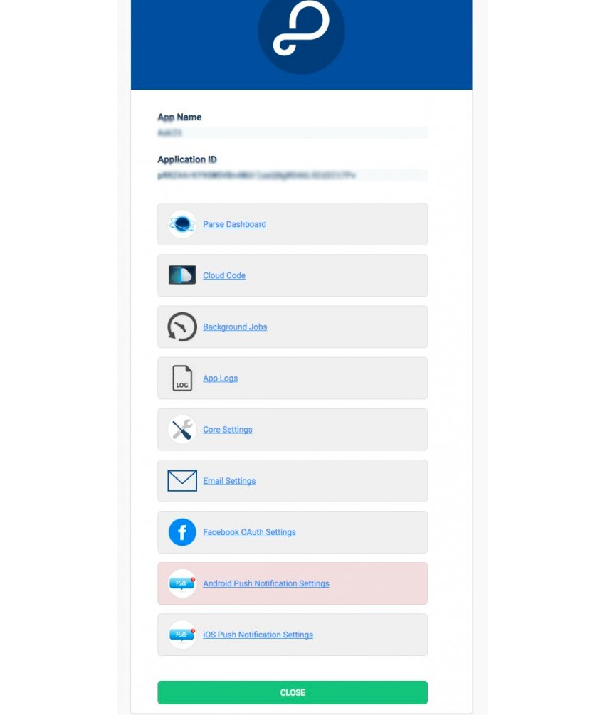 Parse App main page on back4app