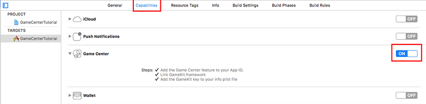 Enable Game Center in the Capabilities tab
