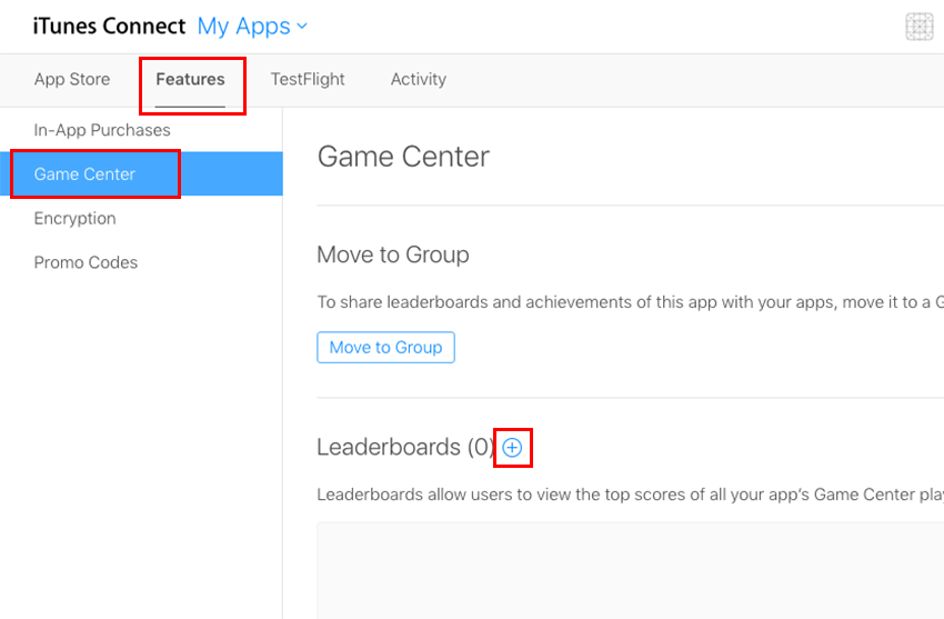 App Features page on iTunes Connect
